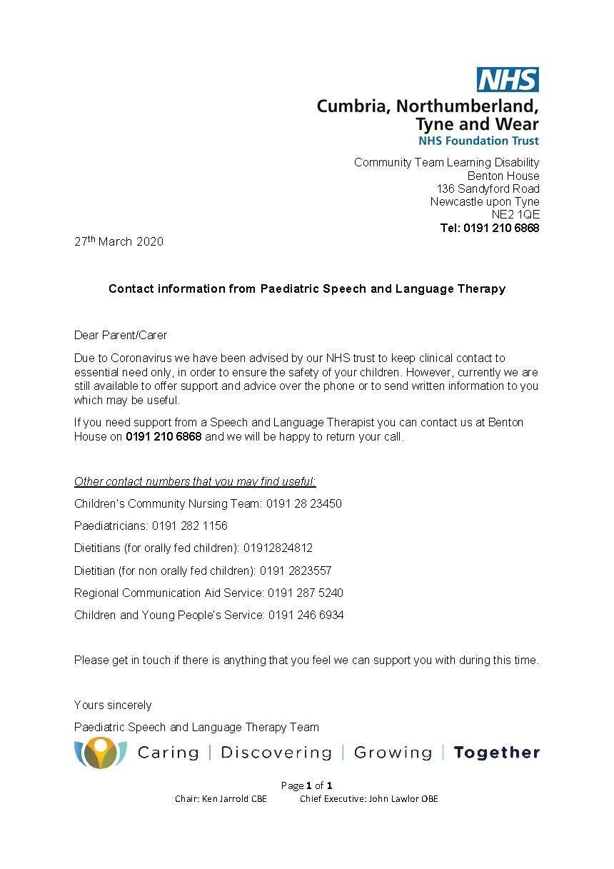 Letter from Speech and Language Therapy Team