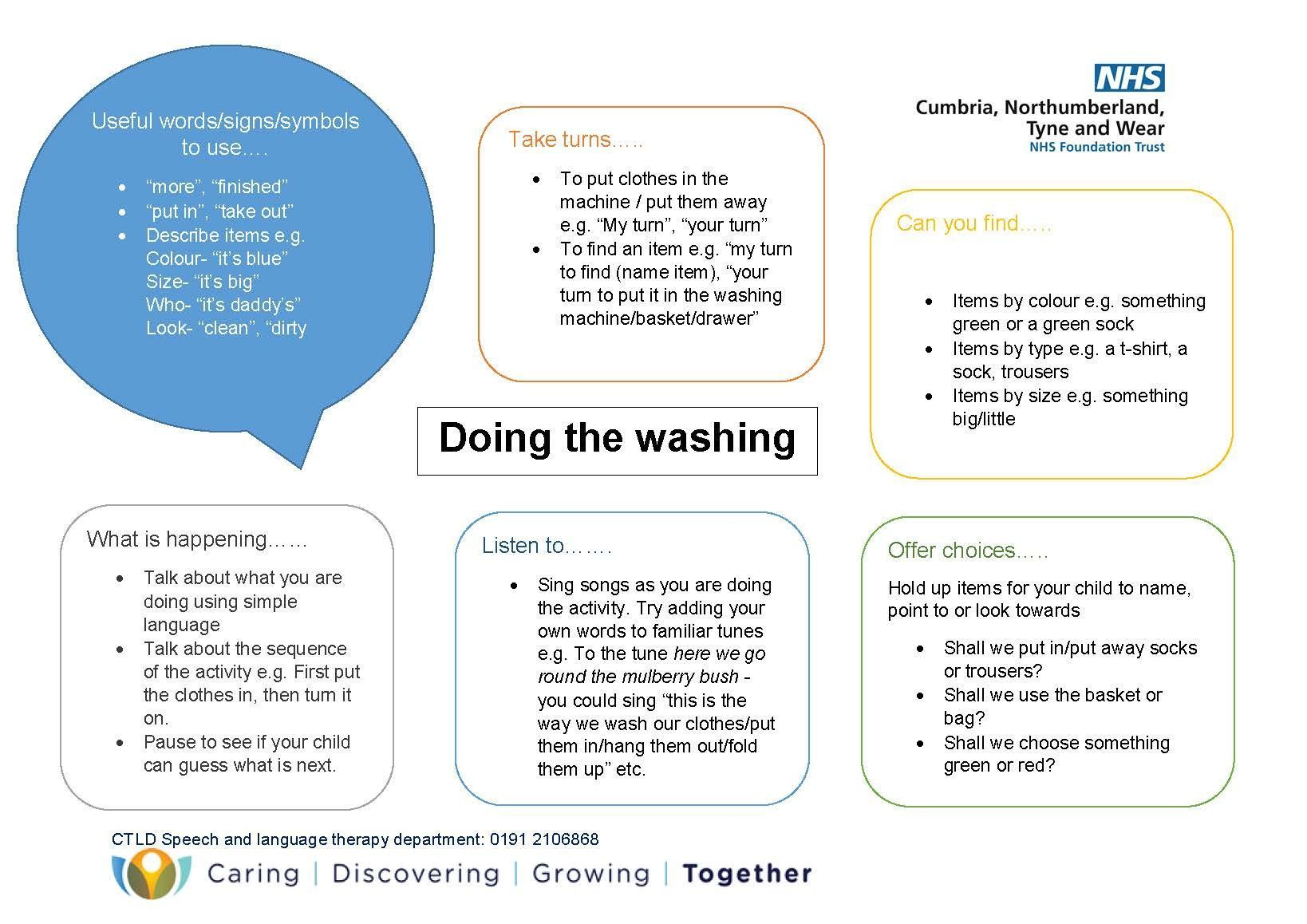 SALT Team - Doing the Washing Activity