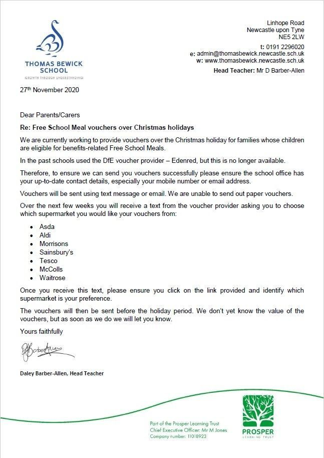 Free School Meals Over Christmas